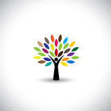 People tree icon with colorful leaves - eco concept vector. This graphic also represents peace, union, unity, embrace, blend, join, unify, renewable royalty free illustration