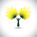 People tree icon with green leaves - eco concept vector. This graphic also represents environmental protection, nature conservation, eco friendly, renewable Stock Photos