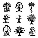 People and trees black icons Royalty Free Stock Photography