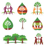 People and trees colorful icons Royalty Free Stock Images