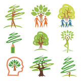 People and trees icons. Set of tree with people design elements. Vector illustration Stock Photography