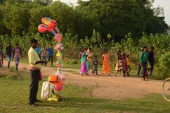 People At Tribal Fair. Local people going to the fair. This picture was taken at Chata Parab in Puruliya District of West Bengal. Chata Parab is a tribal Stock Photo