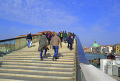 People tripping on Venice new bridge Stock Images