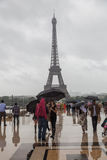People on the Trocadero Square in Paris at rain Royalty Free Stock Photo
