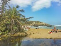 People at Tropical Beach of Tayrona National Park- Stock Photo