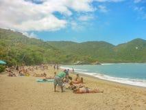 People at Tropical Beach of Tayrona National Park Stock Photos