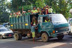 People in truck in Yangon, Burma, Asia stock photography