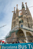 People in a turistic bus in front of the Sagrada Familia cathedr stock photos