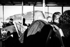 Traveling People From Istanbul To Cinarcik - Turkey. People on Turkish Turyol company vessel traveling from big city Istanbul to small summer town named Cinarcik Royalty Free Stock Images
