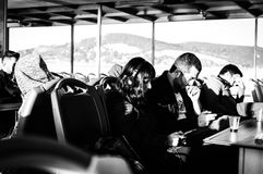 Traveling People From Istanbul To Cinarcik - Turkey. People on Turkish Turyol company vessel traveling from big city Istanbul to small summer town named Cinarcik Stock Image