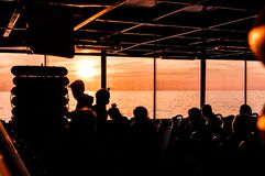 Traveling People From Istanbul To Cinarcik - Turkey. People on Turkish Turyol company vessel traveling from big city Istanbul to small summer town named Cinarcik Stock Images