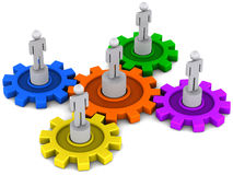 People turning gears. Cogs or gears being turned by people, harmony team work and synergy concept vector illustration