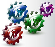 People, Turning, Gears, Synergy. The concept of relations between men and women, vector art illustration Stock Images