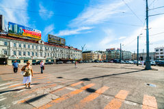 People in Tverskaya Zastava Square of Moscow Royalty Free Stock Photo