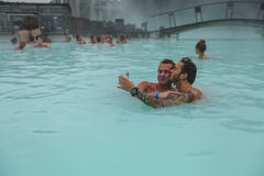People, two men, bathing in Blue Lagoon in Iceland Royalty Free Stock Image