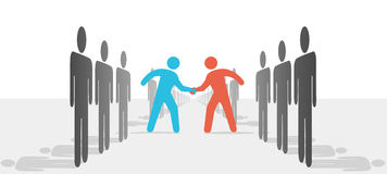 People on Two Sides Agree to Deal Shake Hands. Two leaders step from sides lines of people or companies to join in a handshake & agree to cooperate vector illustration