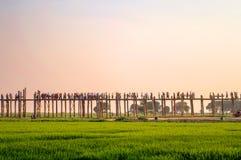 People on U Bein bridge over the Taungthaman Lake in Amarapura, Mandalay Myanmar Stock Image