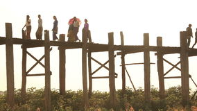 People U Bein Bridge Sunset  Amarapura stock video footage
