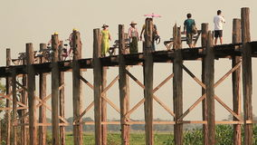 People U Bein Bridge Sunset stock footage