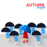 People with umbrella in a autumn raining day Stock Photography