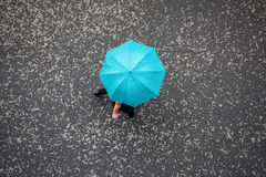 People with Umbrella. People in the Rain with Umbrella, Bird's eye view Royalty Free Stock Image