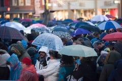 People with umbrella's Stock Image
