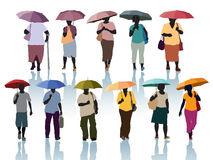 People with umbrellas Stock Photos