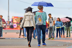 People with umbrellas, under the rain at Heineken Primavera Sound 2014 Festival Stock Photo
