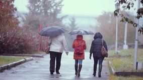 People with umbrellas walking in the street in a snowy and rainy autumn wet day. 1920x1080 . Depressive weather. People walking in the street in a snowy winter stock footage