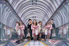 People in the Umeda Sky Building escalator in Osaka, Japan Stock Photos