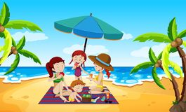 Free People Under An Umbrella Beach Scene Royalty Free Stock Photo - 124392465