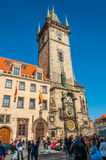 People under the Astronomical Clock Royalty Free Stock Photos