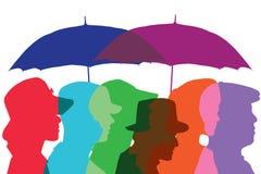 The People under autumn rain. Vector vector illustration