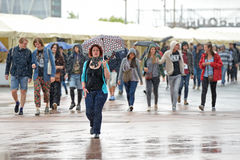 People under the rain at Heineken Primavera Sound 2014 Festival Stock Photography