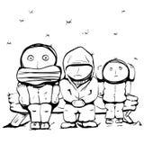 People under snow vector illustration