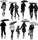 People under umbrellas Royalty Free Stock Photography