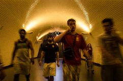 People in underground passage