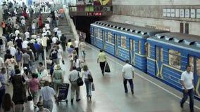 People on underground station. In Kiev, Ukraine stock video