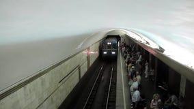 People on underground station. In Kiev, Ukraine stock footage