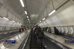 People on underground tunnel staircase in London. Stock Photography