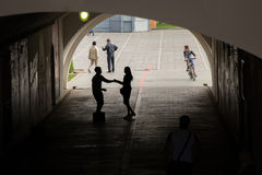 People in the underpass Royalty Free Stock Image