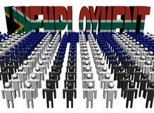 People with unemployment South African flag text Stock Photography