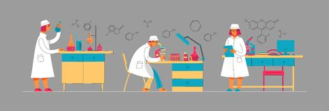 People in uniform are working in a laboratory. Chemical and Biological Laboratory. vector illustration