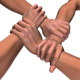 People united. 3D rendered image of four interlocking hands with real skin texture isolated on white Stock Photography