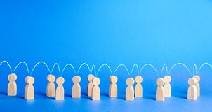 Free People United To Each Other With A Mental Link Line. Social Connections, Communication. Call For Cooperation, Creating A New Team Stock Photos - 156033153