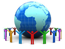 People unity. Abstract 3d illustration of colorful people around earth globe Royalty Free Stock Photos