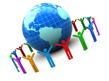 People unity. Abstract 3d illustration of earth globe and colorful people around Stock Photo