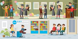 People In University Horizontal Banners. With graduation celebration ceremony and bank recruitment of graduates vector illustration royalty free illustration