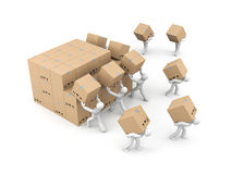 People unload a bunch of boxes. Parcel delivery. 3d illustration Royalty Free Stock Image