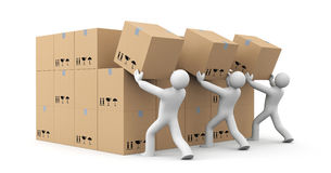 People unload a bunch of boxes. Parcel delivery. 3d illustration Stock Photography